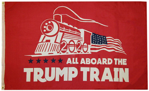 Red All Aboard The Trump Train 2020 Donald Trump Flag Heavy Duty