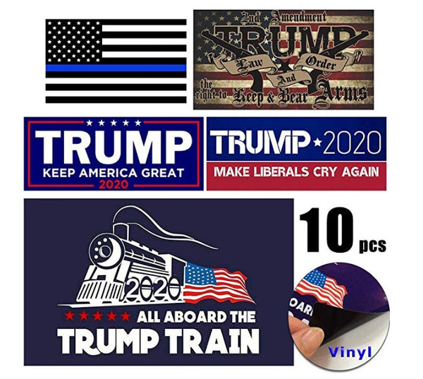 10 Awesome Variety Pack of High-Quality Trump 2020 Bumper Stickers