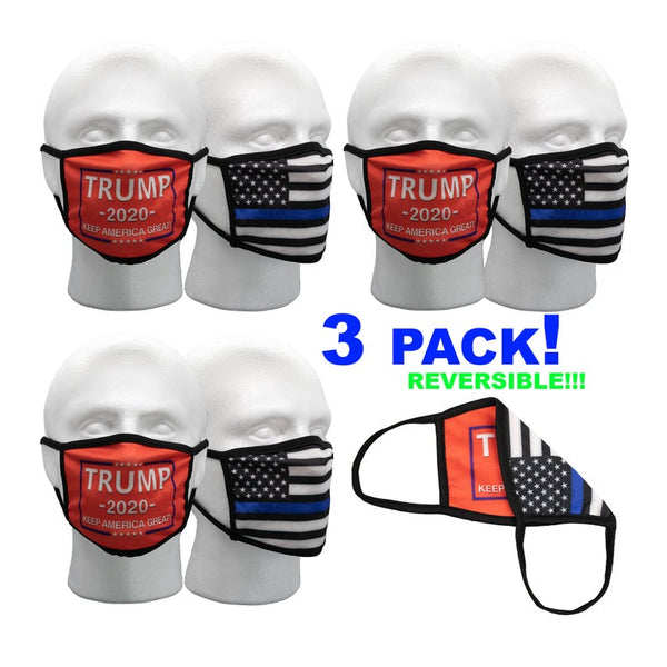 3 PACK! Red Trump Mask, Thin Blue Line Mask, 2 Layer Reversible