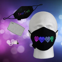 Programmable LED Mask, Light Mask w/ Message Display  Filter Pocket, App Controlled