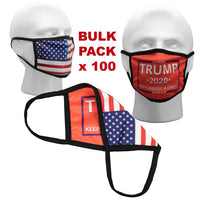 Wholesale Bulk Face Masks - Pack of 100 Trump Masks - Red with USA Flag Back Side