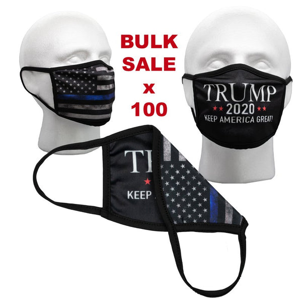 Bulk Face Masks - Pack of 100 Trump Masks - Black Tattered