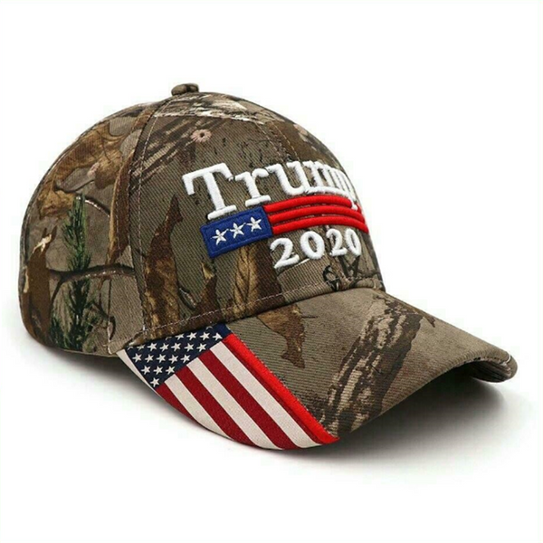Trump 2020 Hat With Camouflage Embroidered American Flag