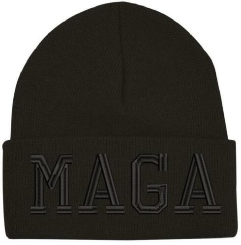 Black on Black MAGA Winter Hat - Embroidered  Wool Beanie
