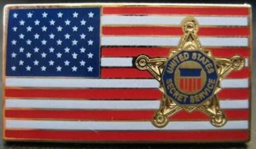 US Flag Lapel Pin with Star - Secret Service