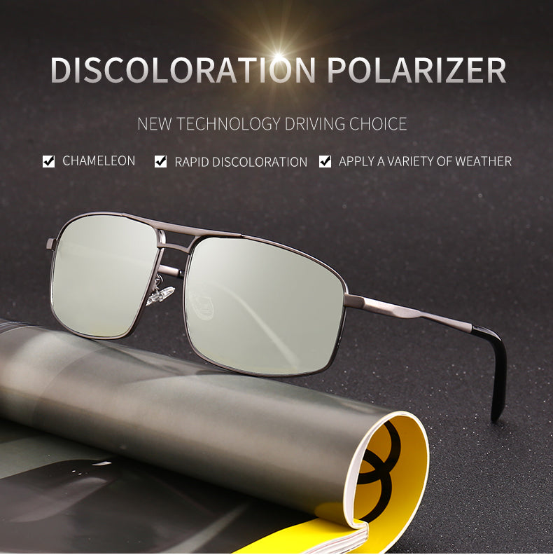 Photochromic Sunglasses Men Women's Polarized Discoloration HD Goggles Male Anti Glare Driving Glasses Square Sun glasses