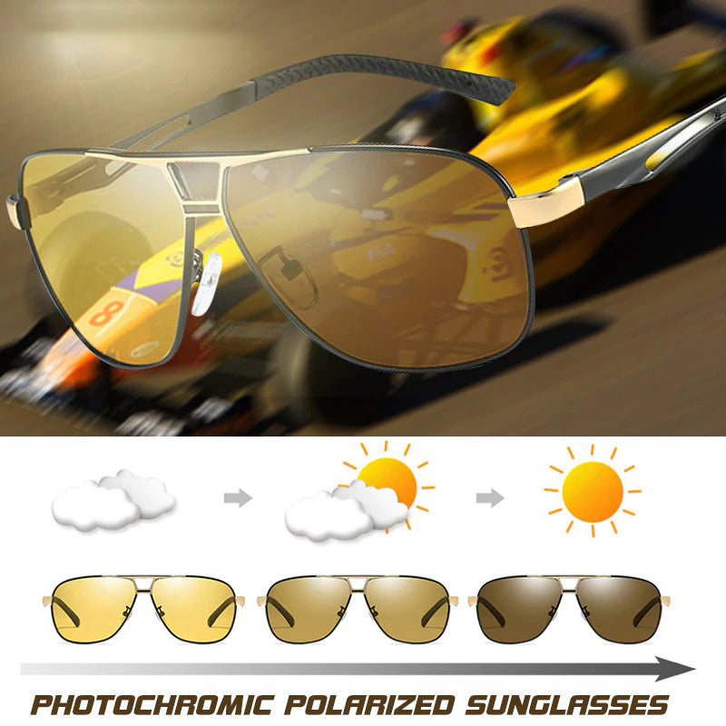 Photochromic Polarized Sunglasses Men Women Sun Glasses Retro Aviation Night Vision Glasses Driving Chameleon lunettes de soleil homme