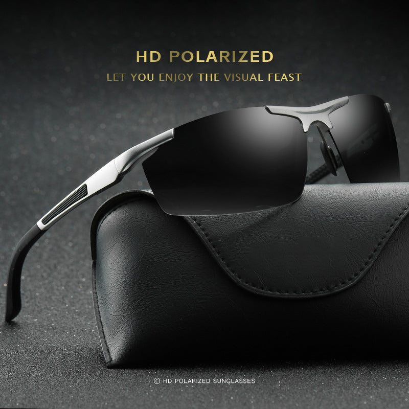 Men's Sports Polarized Sunglasses - Fashion UV Protection Rectangular Half Frame Sun Glasses