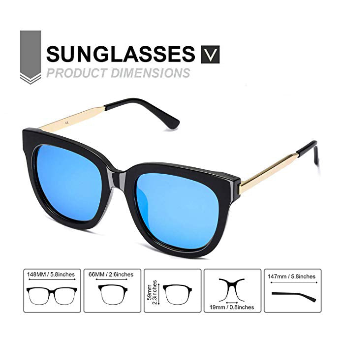 Mirrored Sunglasses for Women/Men Polarized with 100% UV400 Protection-Oversized Sun Glasses