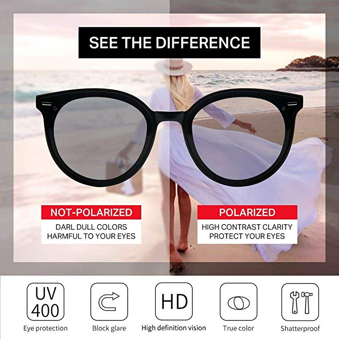 Polarized Oversized Cateye Sunglasses for Women Retro Vintage Trendy Round Shades