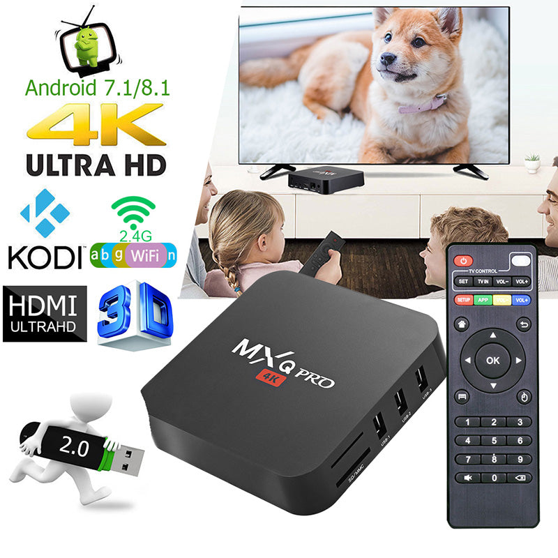 MXQ pro 4K Android 7,1 Smart Box 4K HD 3D 2,4G WiFi android tv box Free one year iptv service