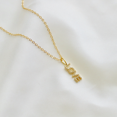 Gold filled minimalist love necklace