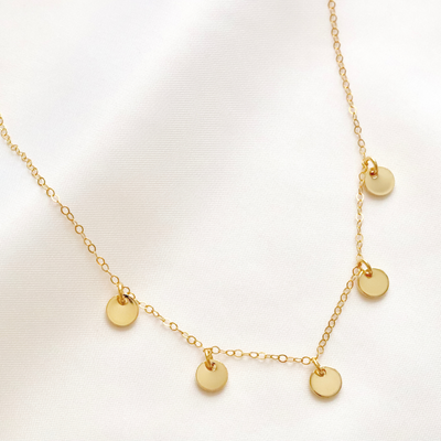Gold  filled, boho necklace with gold discs