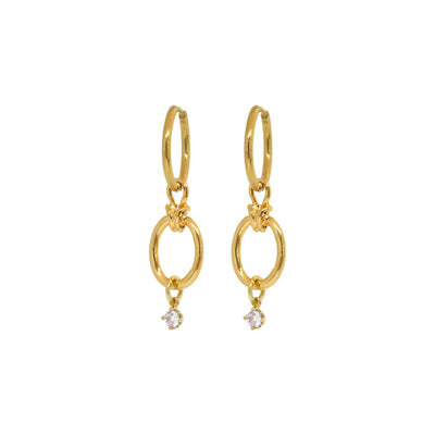 Gold dangle earrings with CZ