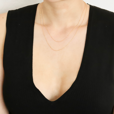 Gold filled, minimalist dainty chain necklace