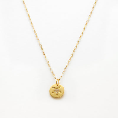 Gold filled starfish coin necklace