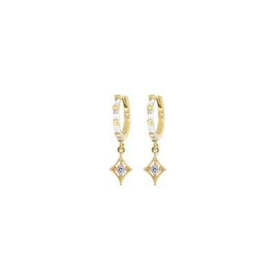 Gold huggie hoop earrings with diamond shape charms