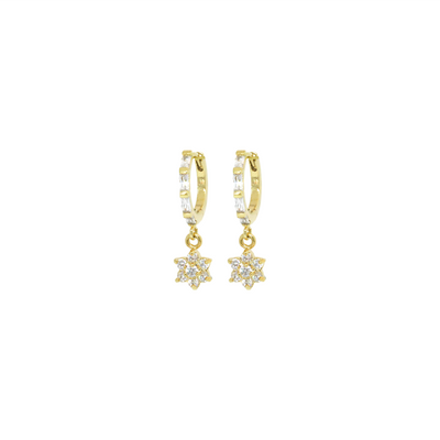 Gold huggie earrings with flower charms