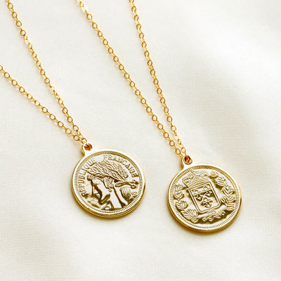 Gold filled medallion necklace