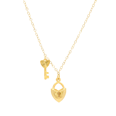 Gold heart lock and key pendant necklace