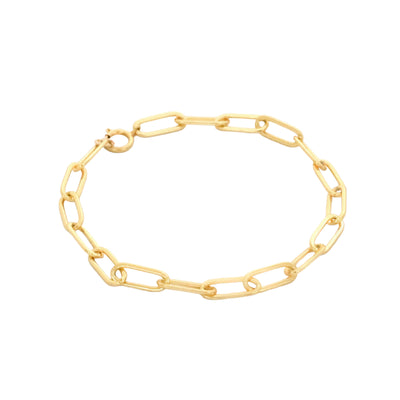 Gold plated paper clip chain bracelet
