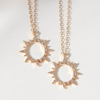Gold sunflower pendant necklace