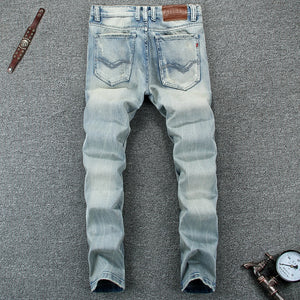 Light Blue High Quality Slim Fit Ripped Jeans