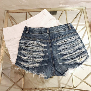 Sexy Ripped Hole High Waisted Booty Denim Jean Shorts