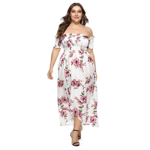 Off The Shoulder Floral Print Slit Plus Size Women Maxi Dress