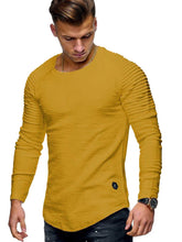 Load image into Gallery viewer, Solid Color Sleeve Pleated Patch Detail Long Sleeve T-shirt