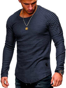 Solid Color Sleeve Pleated Patch Detail Long Sleeve T-shirt