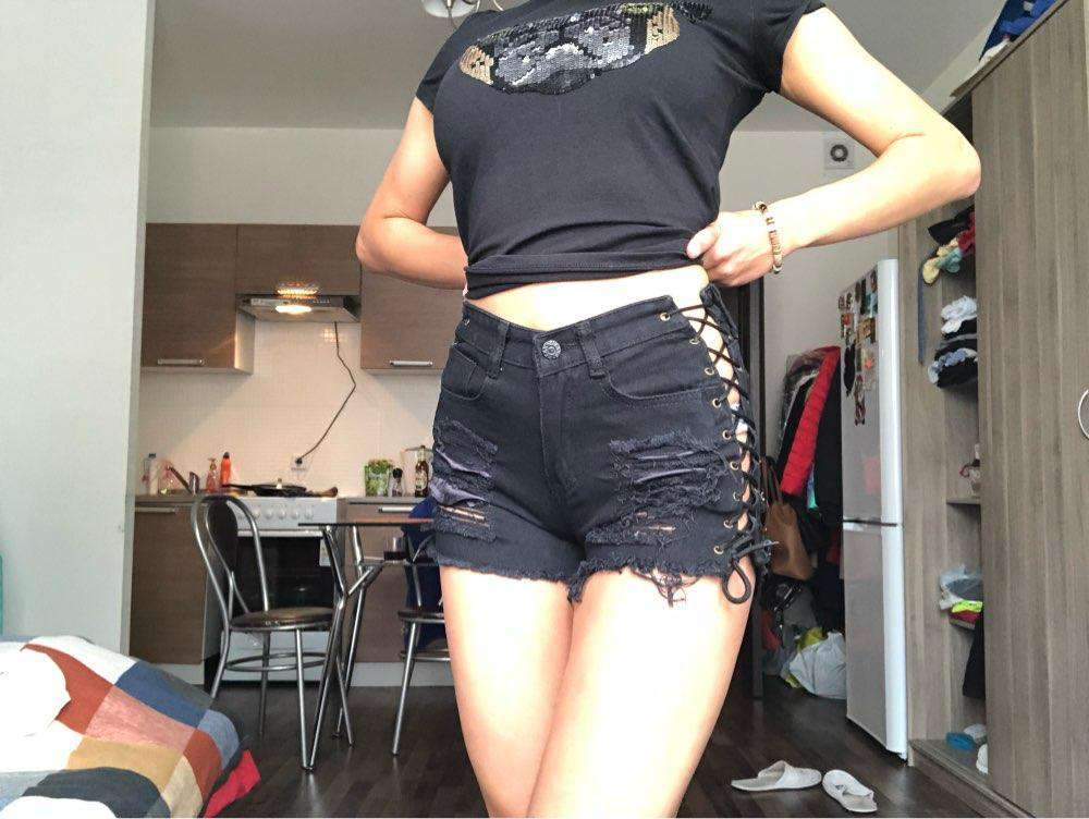 Womens High Waisted Ripped Jean Short