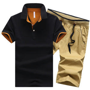 Mens Cotton Two Piece Button Polo Shirts + Elastic Waist Shorts