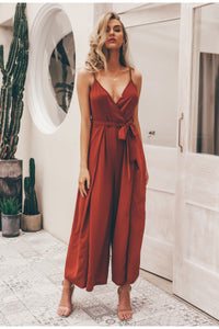Sexyv-neck spaghetti strap floral print jumpsuits