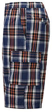 Load image into Gallery viewer, Mens Casual Plaid Shorts Big and Tall Lounge Shorts Elastic Waist with Cargo Pockets