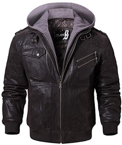 Leather Motorcycle Jacket with Removable Hood
