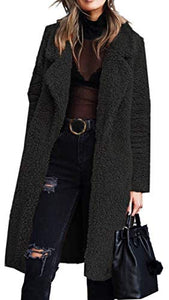 Fleece Lapel Open Front Long Cardigan Coat with Pockets