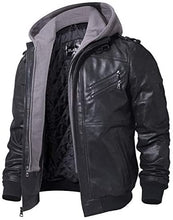 Load image into Gallery viewer, Leather Motorcycle Jacket with Removable Hood