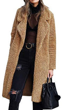 Load image into Gallery viewer, Fleece Lapel Open Front Long Cardigan Coat with Pockets