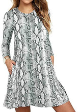 Load image into Gallery viewer, Women's Long Sleeve Pocket T-Shirt Dress