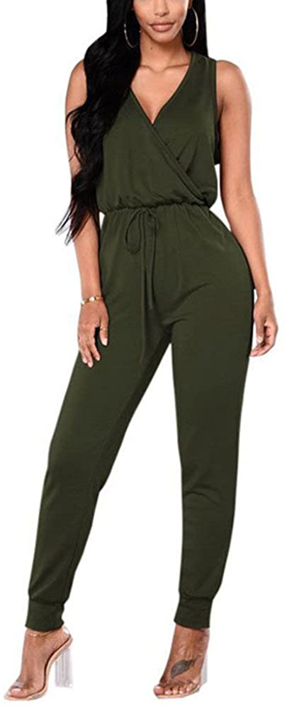 Women's Deep V -Neck Sleeveless Long Pants Plain Pocket Summer Drawstring Waisted Jumpsuits