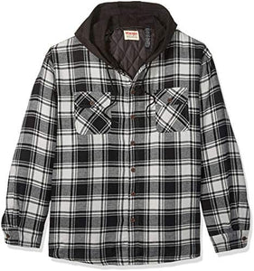 Long Sleeve Quilted Lined Flannel Shirt Jacket With Hood