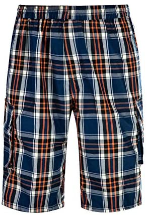 Mens Casual Plaid Shorts Big and Tall Lounge Shorts Elastic Waist with Cargo Pockets