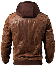 Load image into Gallery viewer, Brown Leather Motorcycle Jacket with Removable Hood