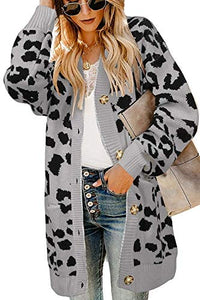 Leopard Cardigan Long Open Front Sweaters with Pocket