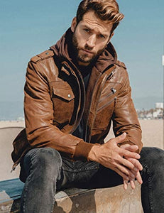 Brown Leather Motorcycle Jacket with Removable Hood
