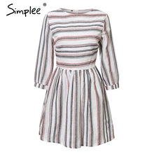 Load image into Gallery viewer, Striped O neck A-line dress