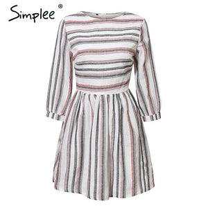 Striped O neck A-line dress