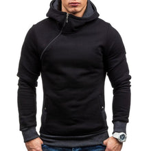 Load image into Gallery viewer, Mens Oblique Zipper Solid Color Hooded Sweatshirt