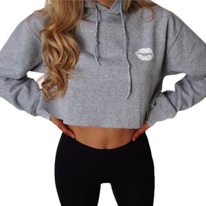 Womens  Lips Printed Crop Tops Loose Hoodie Sweatshirts